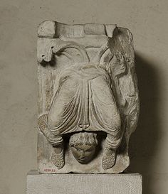 Portion of a Pilaster with an Acrobat Date: ca. 1150–70 Geography: Made in Lyonnais, France Culture: French Medium: Limestone Accession Number: 47.101.25