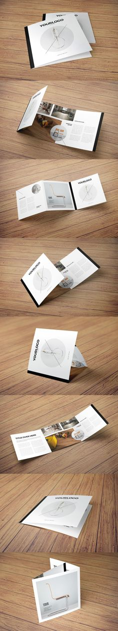 Square Simple Minimal Catalog Trifold Brochure Template InDesign INDD
