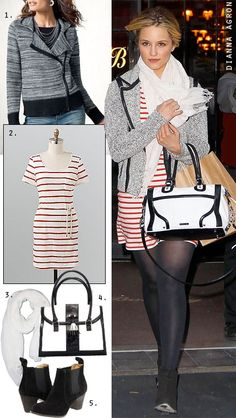 striped dress layered with a contrast-trim jacket, white scarf, opaque black tights and ankle boots.
