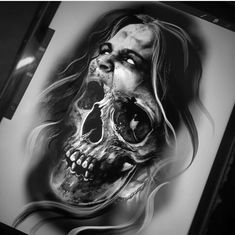 - You are in the right place about (notitle) Tattoo Design And Style Galleries On The Net – Are The - Skull Sleeve Tattoos, Skull Girl Tattoo, Tattoo Sleeve Designs, Body Art Tattoos, Tattoo Design Drawings, Skull Tattoo Design, Tattoo Sketches, Evil Tattoos, Badass Tattoos