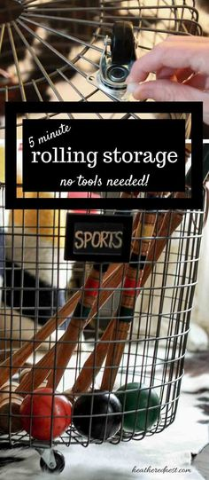 DIY storage solution in 5 minutes, no tools! You've GOT to try this SUPER EASY, fast DIY! GREAT for toys/sports equipment!! from www.heatherednest...
