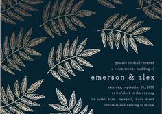 Rustic Greenery Wedding Invitations - Botanical Wedding Invitations - Foil-Pressed Wedding Invitations -  Leaves #rusticweddings #rusticweddinginvitations #foil-pressedweddinginvitations