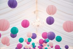 Colourful paper lanterns. Wedding at Clonabreany House, Kells, Co. Meath. See more of our wedding photography at weddingsbykara.com