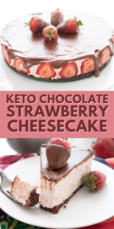 This keto strawberry cheesecake is smooth and creamy, with a rich chocolate crust and a sugar-free chocolate ganache topping. It's a decadent no-bake dessert, all topped off with chocolate covered strawberries for a beautiful presentation. Low Carb Sweets, Low Carb Desserts, Healthy Desserts, Just Desserts, Low Carb Recipes, Delicious Desserts, Diabetic Desserts, Low Carb Cheesecake, Strawberry Cheesecake