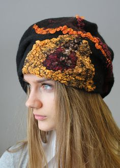 Felted hat  beret Black and orange by doseth on Etsy, €44.00