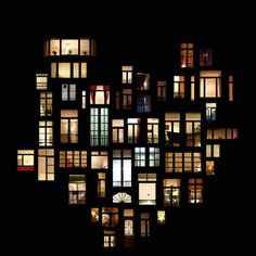 Window collages - hearts everywhere