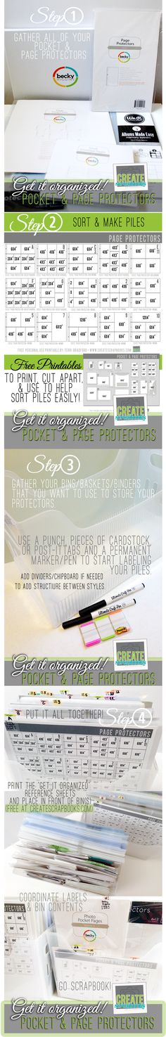 Get your page protectors, envelope pages, and photo pocket pages organized - FREE printable and step-by-step guide at createscrapbooks.com
