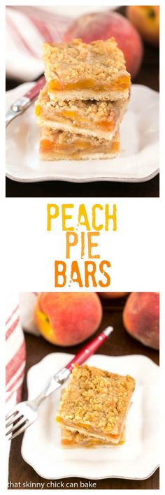Fresh Peach Pie Bars are a heavenly treat made with fresh summer peaches. Try this tasty trio of shortbread crust, peaches and a crumble topping! Peach Pie Bars, Fresh Peach Pie, Apricot Bars, Peach Fruit, Top Dessert Recipe, Dessert Bars, Dessert Recipes, Dessert Ideas, Fruit Dessert