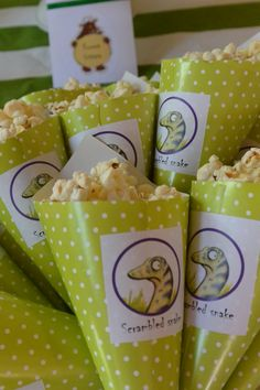 Gruffalo party: scrambled snake cones (unsalted popcorn)