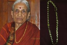 """Source: Lakshmi Krishnappa/ Lakshmamma Description:My name is Lakshmamma, aged 84. I hail from a small village called Thymagondlu in the Bangalore district (rural) of Karnataka. The jewelry piece on display is called """"Avalakki sara"""" ( In Kannada). Avalakkai translates to Phoa or flattened rice. Any kind of chain is referred to as Sara in Kannada. The jewelery is named """"Avalakki sara"""" because of its shape. The piece, in gold, was made on order around 1960 by a jeweler in Thymagondlu."""