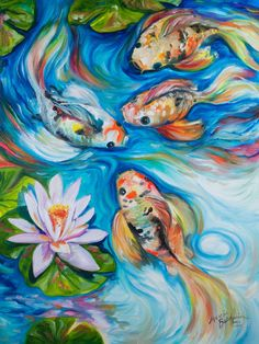 M BALDWIN ORIGINAL OIL PAINTING ~ DANCING KOI FISH LOTUS FLOWER ~ MARCIA BALDWIN