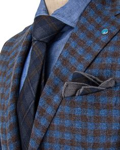 Eidos Napoli | Dusty Royal with Brown Gingham Sportcoat | ApparelShak/ Contemporary | Men's