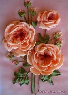 Gallery.ru / Персиковые розы - Вышивка лентами, часть 2 - silkfantasy