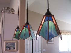 Custom stained glass pendant lighting choice of by nostalgianmore stained glass pendant lights made by me aloadofball Gallery