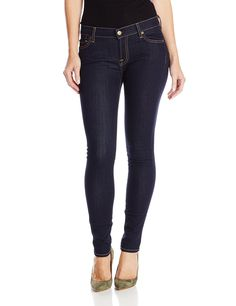 """7 For All Mankind Women's Skinny Jean in Rinsed Indigo, Rinsed Indigo, 27. Super skinny-fit jean featuring contrast stitching and five-pocket styling with clean back pockets. Zip fly with button closure. Inseam: 30"""" (size 28)."""