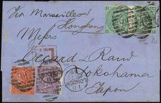 """Hong Kong Treaty Ports. Yokohama. Incoming Mail. 1869 (17 Dec.) blue commercial wrapper to Yokohama """"Via Marseilles & Hongkong"""" bearing G.B. 1867-80 4d. vermilion plate 11, 6d. dull violet plate 6 and pair of 1/- green plate 4 tied by London """"106"""" duplex and with a very good strike of the boxed """"L2"""" late fee handstamp in red; the reverse with Hong Kong transit (31.1) and Yokohama code """"A"""" arrival c.d.s. in blue (7.2). Usual central folding crease does not detract from this"""