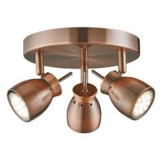 <p>This Jupiter Antique Copper 3 Light Ceiling Spotlight with round plate provides an attractive, central source of light for any room in your home. The modern fitting features three fully adjustable spotlight heads for precise lighting angles. The contemporary antique copper finish is ultra stylish and gives this fitting a classic look.</p>