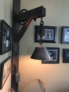 DIY Pulley Lamp  A few pulleys, a little barn wood, add some pipe..... Vintage Lighting, Custom Lighting, Farmhouse Lighting, Rustic Interiors, House Design, Loft Design, Pulley Light, Diy Woodworking, Diy Furniture