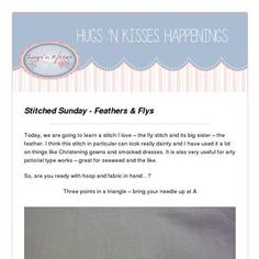 Read my latest newsletter! Hugs N Kisses, Feather Stitch, Lazy Daisy Stitch, Pull Through, Chain Stitch, Sunday, Embroidery, Shit Happens, Reading