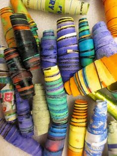 African Trade Beads - Simple paper beads, students made them and traded them Vbs Crafts, Camping Crafts, Bead Crafts, Arts And Crafts, Paper Crafts, Paper Bead Jewelry, Paper Beads, Africa Craft, African Art Projects