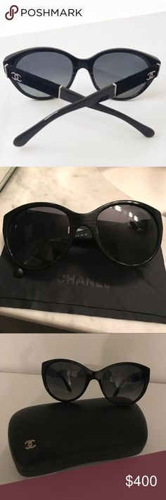 Chanel black/grey polarized sunglasses Chanel black/grey polarized sunglasses with Chanel case and Chanel black lens cleaning cloth.  Like new condition.  Only worn twice.  Receipt from purchase included in photos.  Ask all questions before purchase.  No returns CHANEL Accessories Sunglasses