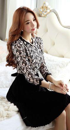 StyleOnme_Flora Pleats Dress #pleats #dress #flowery #laced #floral #feminine