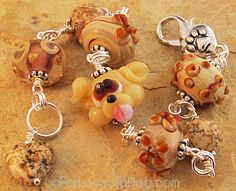 Yellow Dog Lampwork Bracelet Carmel and Silver from For Love of a Dog