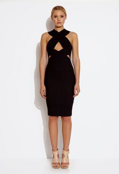 Wink Cut Out Knee Length Dress - Black £130