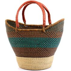 Yikene Tote | Coming from Yikene village, in the Bolgatanga region of Ghana, these baskets are traditionally used for carrying goods to and from the market. This is the Yikene interpretation of the regular 2 handled shoppers. Weavers in the region use the abundant Veta vera grass to weave these incredibly hardy, useful baskets
