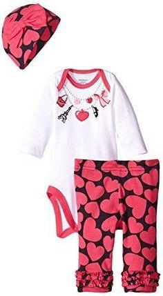 Gerber Baby-Girls Newborn 3 Piece Bodysuit Cap and Legging Set Necklace 3-6 Months