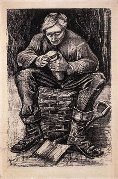Van Gogh: The Life Art of the Day: Van Gogh, Workman Cutting Bread, November 1882. Lithograph, 49 x 31.5 cm. Van Gogh Museum, Amsterdam.