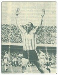 Racing Club 1 Celtic 0 in Nov 1967 in Montevideo. Carlos Cardenas celebrates his winner that won the Intercontinental Cup.