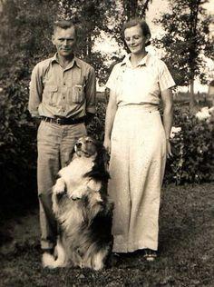 +~+~ Vintage Photograph ~+~+  Family farm collie