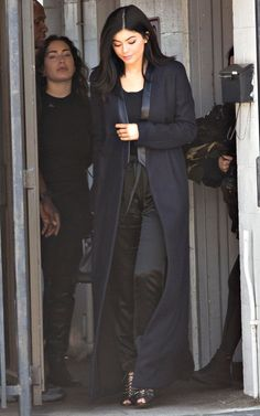 Kylie Jenner joined sister Kim Kardashian in donning an all black outfit