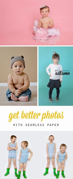 learn how to get better, professional looking photos in your own home with seamless background paper. how to use seamless paper. photography tips & tricks. Photo Craft, Diy Photo, Photo Tips, Photoshop Photography, Photography Backdrops, Photography Backgrounds, Photography Ideas, Paper Backdrop, Backdrop Ideas