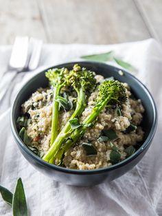 Black Pepper Goat Cheese and Chard Quinoa with Roasted Broccolini // @veggiebeastblog