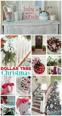 Dollar Tree Budget Christmas Decor and Home Decorating Ideas - Annual blog link party features liek hot chocolate bars, DIY wreaths, Christmas Tree ornament decorations, craft ideas, gifts & more www.foxhollowcottage.com