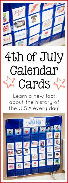 Fun fact for calendar cards!  Free 4th of July Calendar Connections Cards