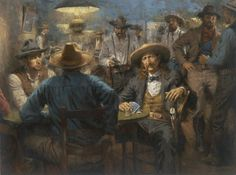 Wild Bill's Last Deal! This is the newest release by Andy Thomas. His artwork captures the very essence of historical characters we all would have loved to meet. This one is of Wild Bill Hickock's last poker game in Deadwood. Cowboy Art, Western Cowboy, Westerns, Ecole Art, Cowboys And Indians, Southwest Art, Le Far West, Mountain Man, Old West