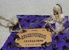 Haunted Miniature 2-Skeletons playing w/ Ouija Board-OOAK-Artist-Spooky & Scary