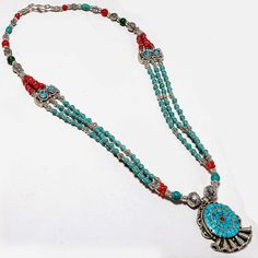 Vintage Tibetan Turquoise Bead Necklace With Pendant. Studded With Turquoise Slabs, Metal Balls, Beads & Coral Balls. 20 Inch Long 74 Grams