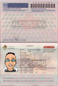 Canada passport - ALEXPSD Passport Template, Psd Templates, Photoshop, Canada, Names, Passport