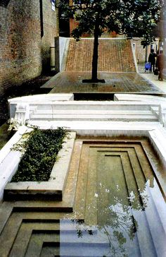 Entrance to the Courtyard of the Faculty of Architecture in Venice by Carlo Scarpa architecture The Venetian City Garden Water Architecture, Amazing Architecture, Architecture Details, Interior Architecture, Urban Landscape, Landscape Design, Garden Design, Contemporary Landscape, Carlo Scarpa