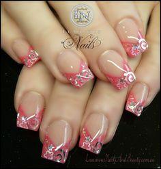 Luminous Nails: Coral Pink Nails with Swirls & Stars. Great Nails, Fabulous Nails, French Nails, Gel Nail Art, Acrylic Nails, Nail Polish, Nail Nail, Coral Pink Nails, Pink Glitter