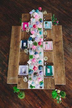 Geometric Tablescape by Sarah Park Events Geometric Wedding, Geometric Decor, Ideias Diy, Deco Table, Decoration Table, Event Styling, Event Decor, Event Design, Table Runners