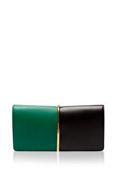 NINA RICCI Arc Large Two-Tone Leather Clutch $1,300