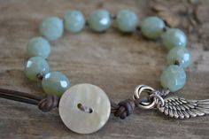 Light creamy aqua 'With brave wings she flies' by jessicasserenity, $38.00