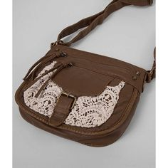 T-Shirt & Jeans Crochet Crossbody Purse ($12) ❤ liked on Polyvore featuring bags, handbags, shoulder bags, brown, brown cross body purse, brown crossbody, purse shoulder bag, brown shoulder bag and handbags shoulder bags