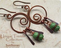 Rustic  Copper Earrings with Nevada Turquoise by SunStones on Etsy, $15.00