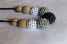 Crochet Nursing Necklace Grays by CraftsbySarahLiz on Etsy
